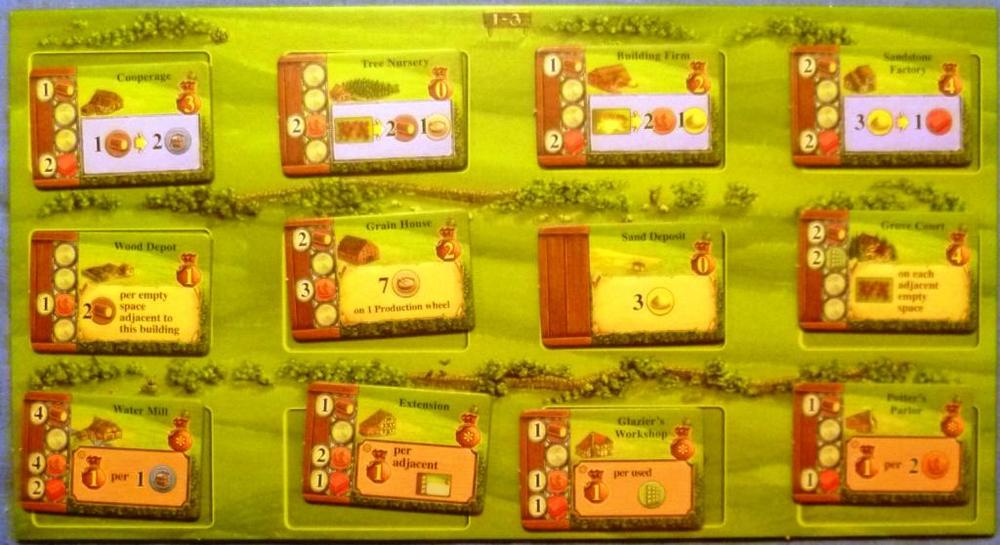 The buildings board, the cost of the buildings is shown on the left of each tile