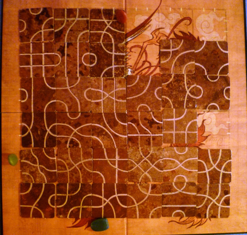 The paths in Tsuro - the board at the end of the game