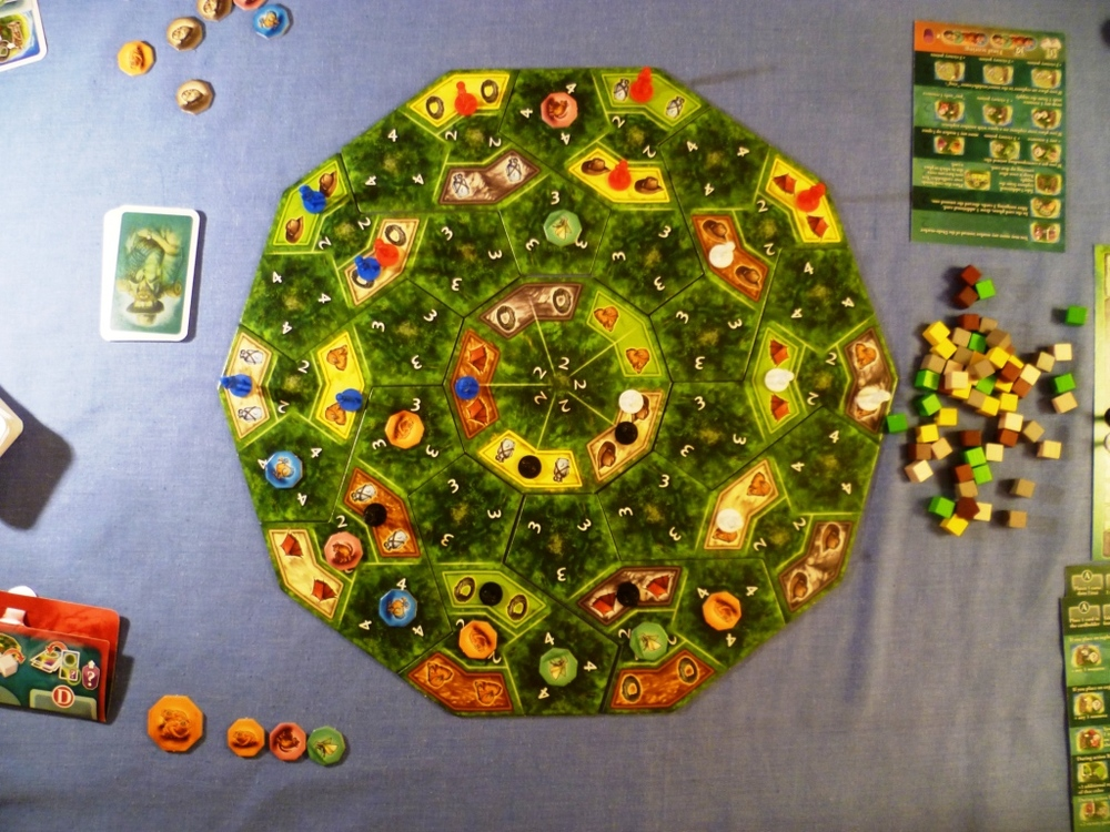 The board at the end of the game with a few tokens still available