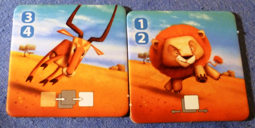 The Antelope can be moved with rolls of 3 and 4, the Lion with rolls of 1 and 2, their special ability is shown at the bottom of the tile