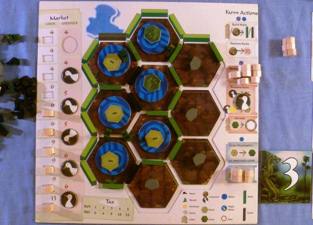 My player board midway through the game, the worker options are on the right side of the board