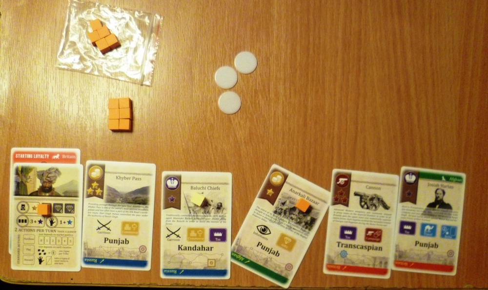 The cards held by one player part way through the game.