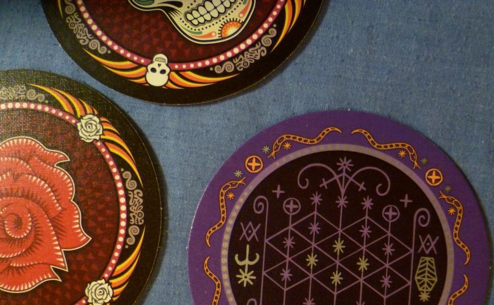 Skull discs - NOT Beer mats.