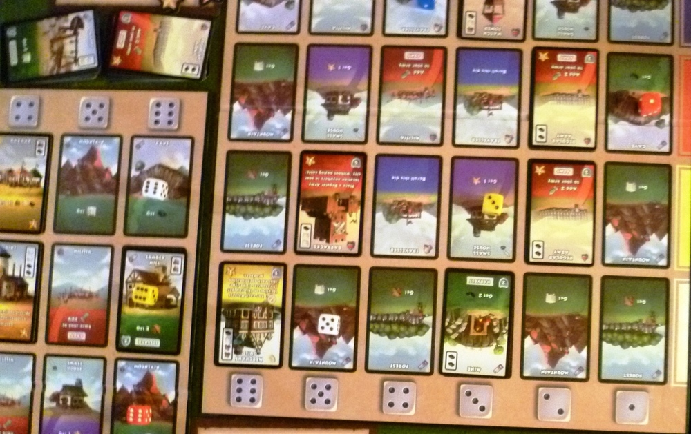 Player boards in Dice City