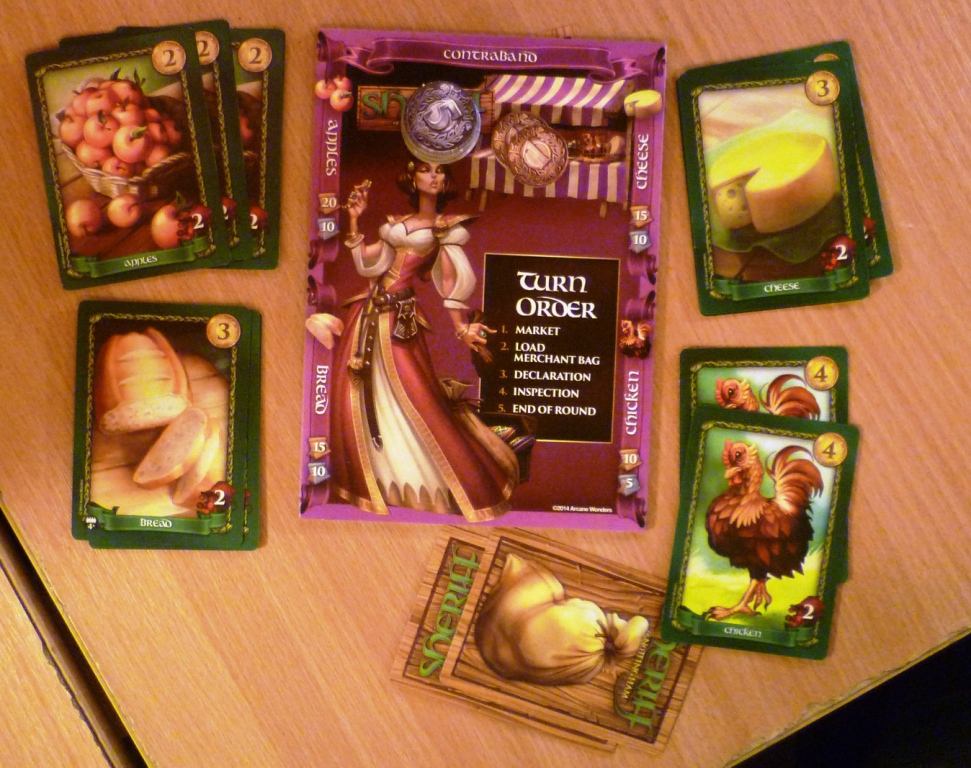 Sheriff of Nottingham - players position mid-game with quite a few goods