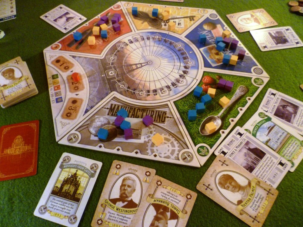 The board and some of the cards in Worlds Fair 1893