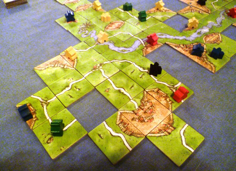 Our Carcassonne game in progress