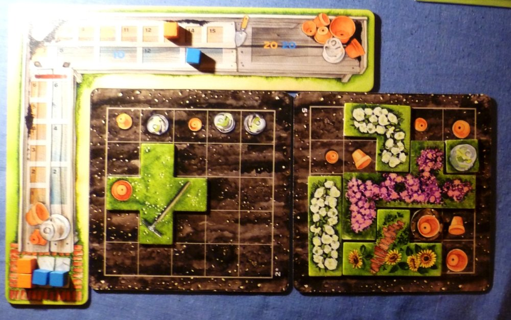 My two plots with the right hand plot one space from completion - at the moment it scores 7 orange points and 2 blue points