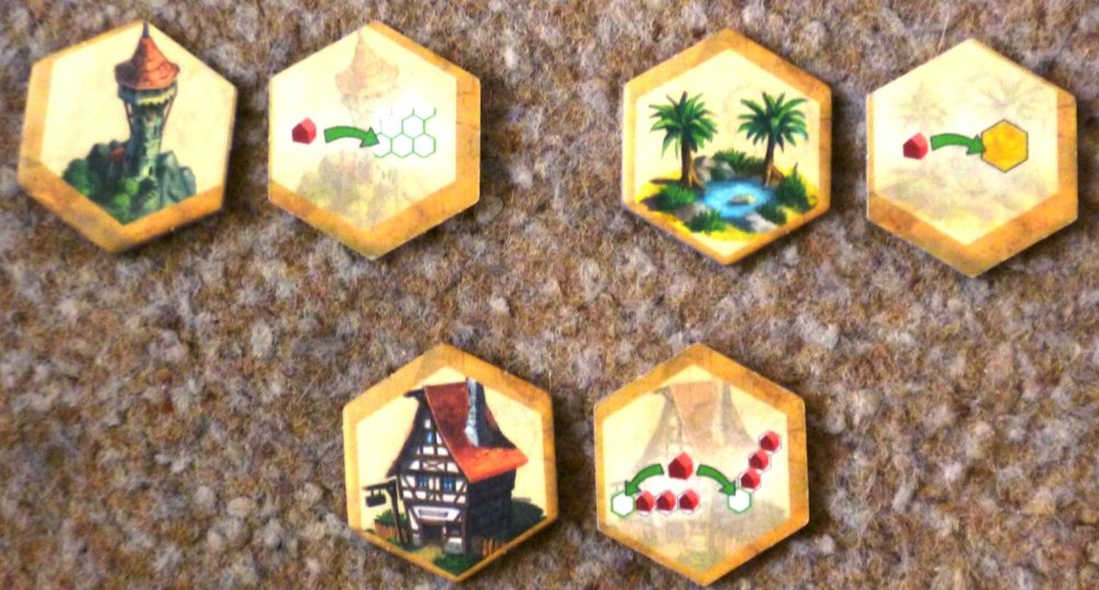 Sample of the bonus tokens from the base game