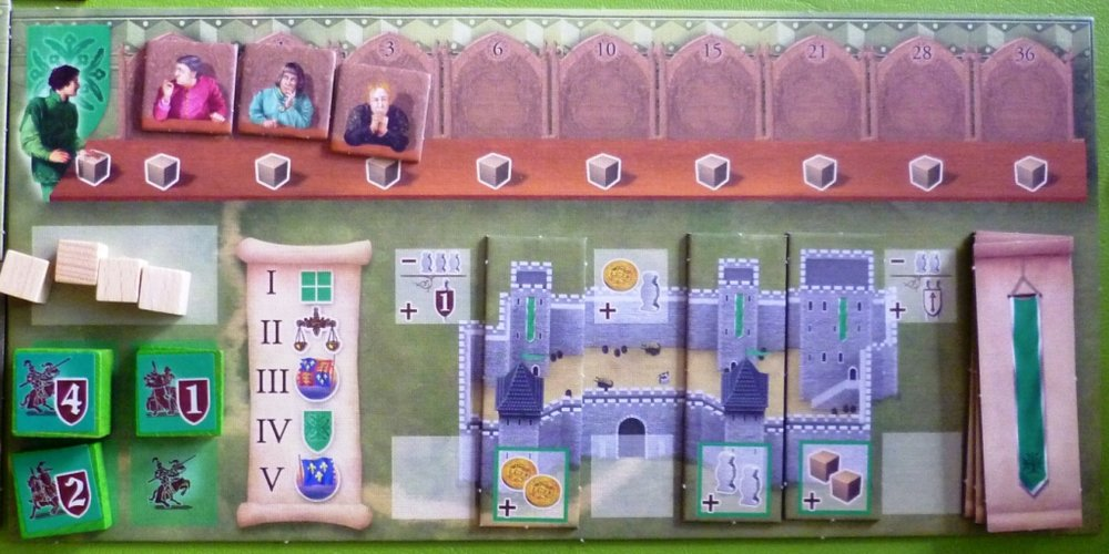 A player board showing 3 Nobles (at top) 3 renovations to the castle, and some Knights on the left ready to be placed.