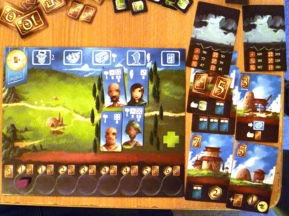Above and Below player board for the yellow player who seems to be struggling for goods (the main way to get victory points).