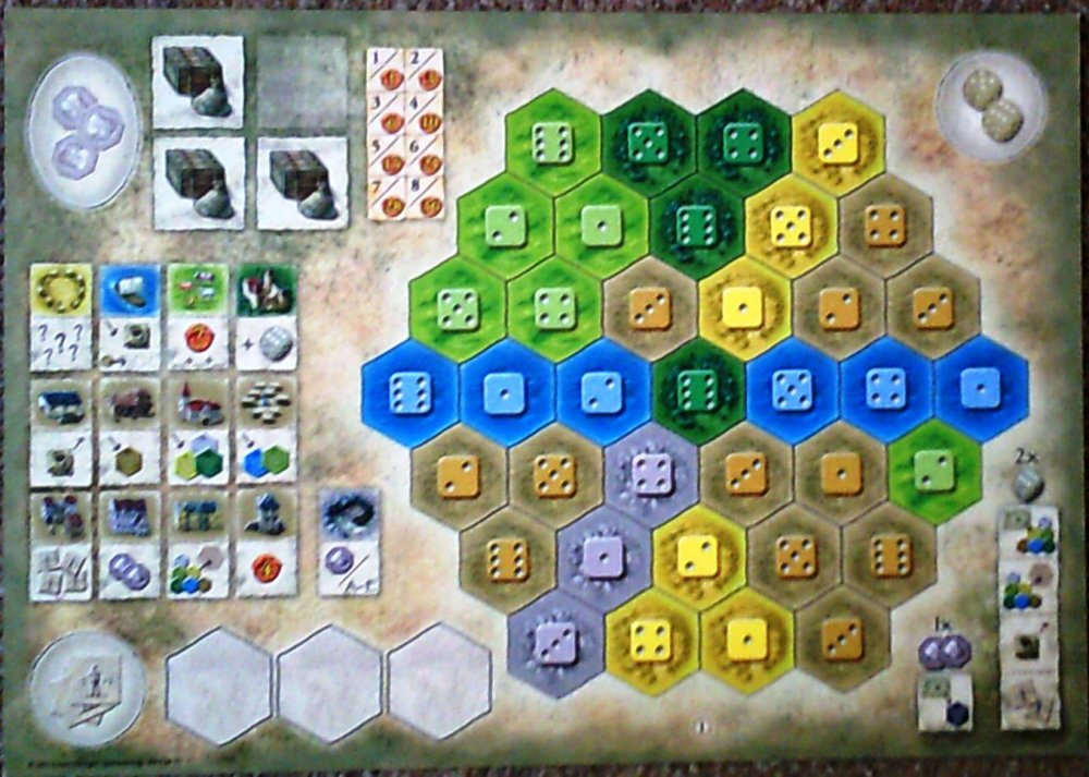 A player board with helpful hints on tile powers on the left and possible actions on the right.