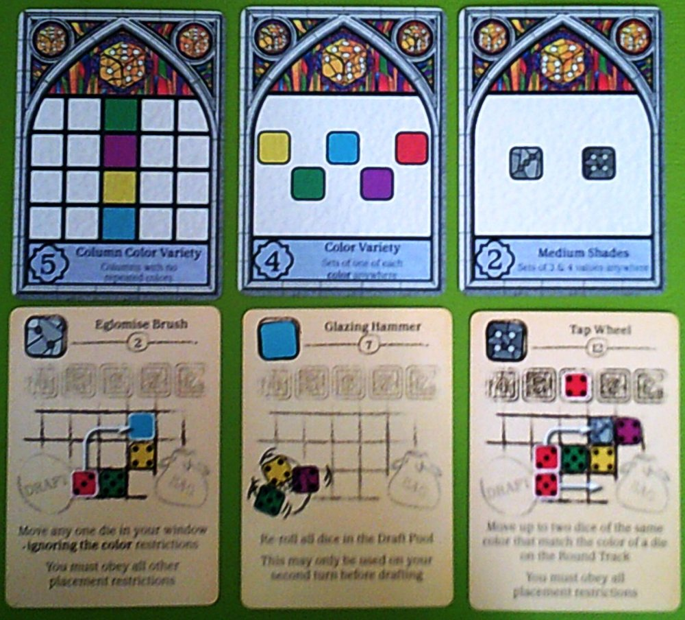 An example set up of points cards and tool cards
