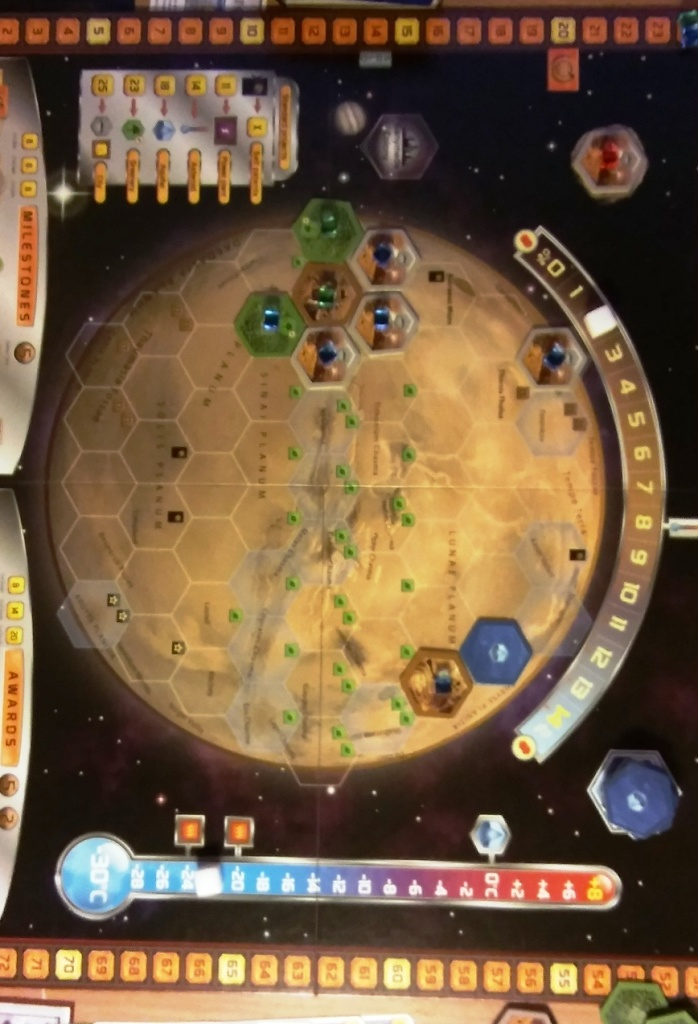 Terraforming Mars - the board at start of play a barren wasteland awaiting development