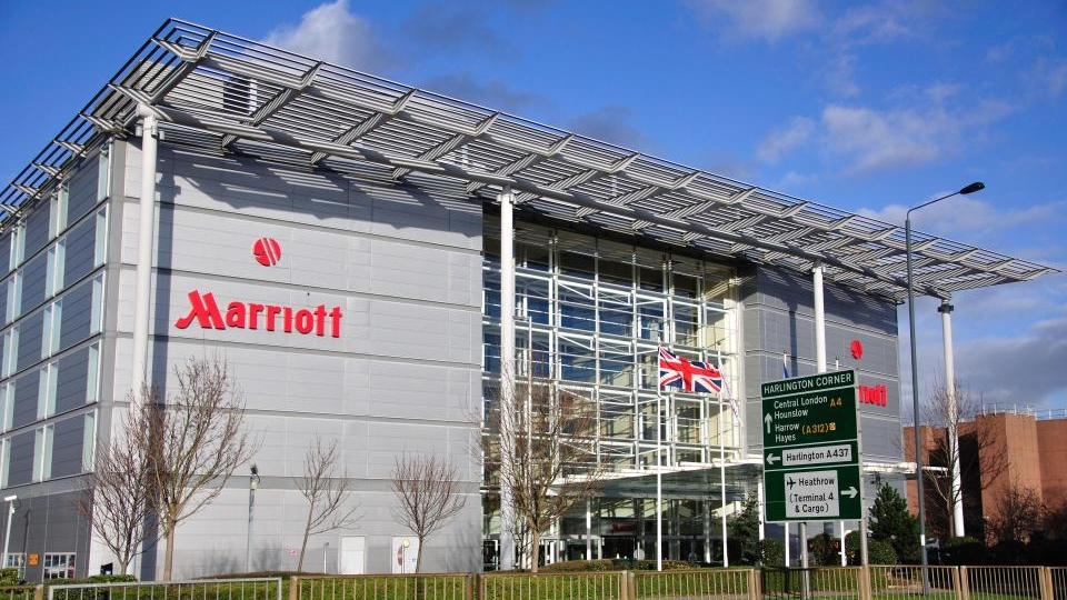 The boy was found in the pool at the Marriott Hotel near Heathrow Airport