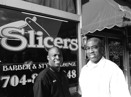 Left to right, Allen Jackson, Owner of Slicers Barber & Styling Lounge; Mark Williams, Executive Director of Shakespeare In A Chair