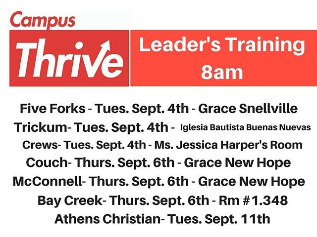 Campus Thrive kicks off next week at most of our schools!!!