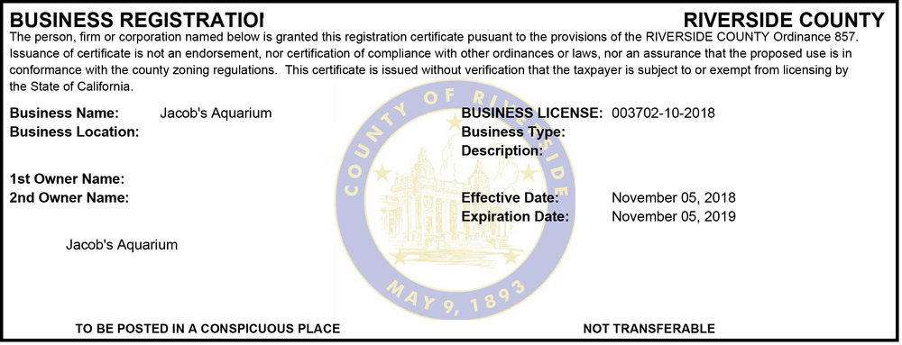 Personal information has been removed from this license for privacy. Additional license information is available upon request with valid government issued badge or identification.