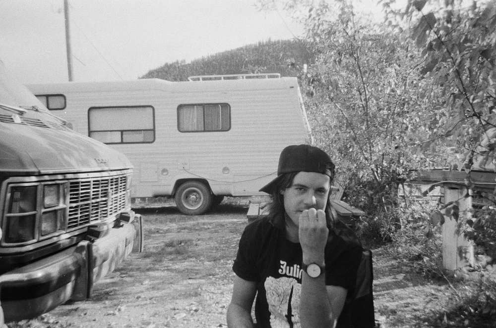 Dylan at the Bonanza Gold trailer park in Dawson City, YT.