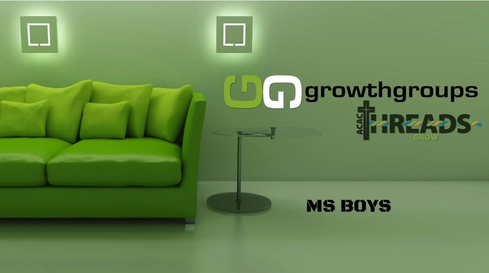 MS BOYS GROWTH GROUP   Randy Ziegler leads an all boys group that meets twice a month on    Sunday from 6:00 PM to 8:00PM at ACAC.   Begins September 23, 2018.  Register below...