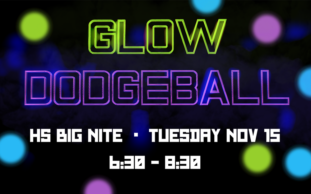 Who doesn't like dodgeball, glow in the dark and/or good food? Well...join us as we have an evening of Glow in the dark Dodgeball and some amazing food. Sign up your team of 6 below so you can be placed in the tournament. The winning team will receive..... You will have to show up to find out.