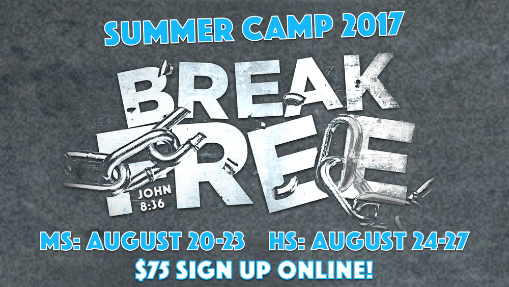 Join us for 4 days at SB2W the Que, where we will canoe, rock climb, zip line, swim, and dig into God's Word. Our theme this year is  Break Free.  This is the highlight of the summer. Sign up online and bring some friends.   We will meet in Whiteside after 3rd service Sunday August 20. Can't wait for an awesome week!  Cost is $75. Sign up now!