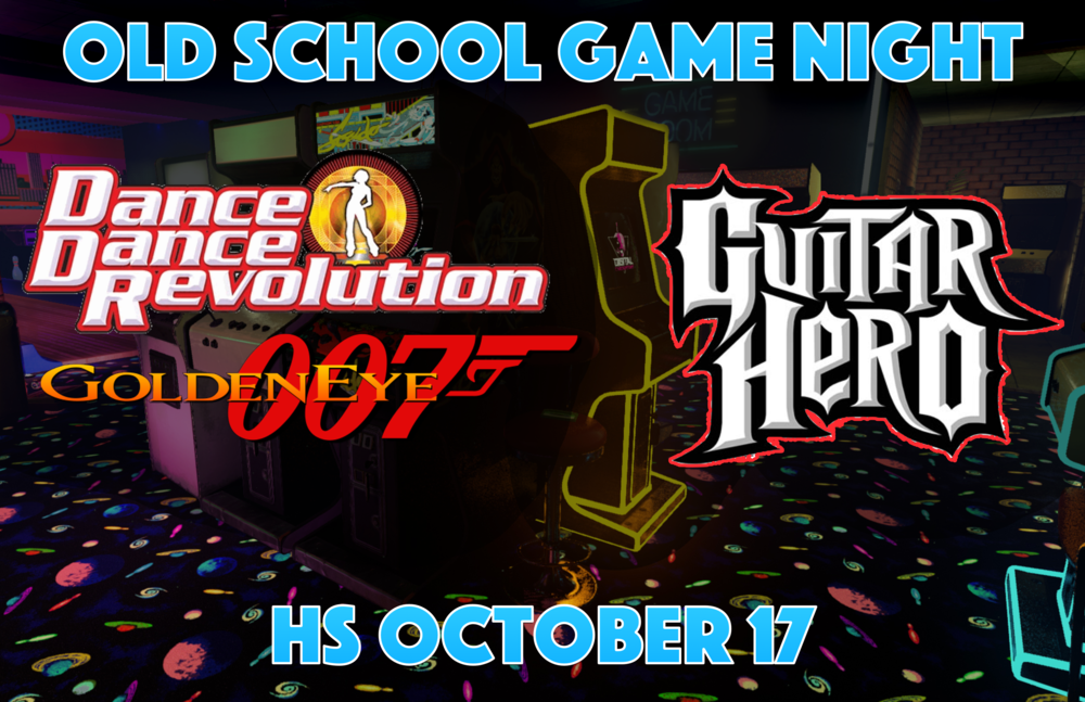 There is nothing like a fun night of games and food. Come and join us as we go back in time to play some Old School games. Games like DDR (Dance Dance Revolution) Guitar Hero, Halo 1 &2, Mario Kart, Goldeneye, and so many more. We will be playing on old systems like Nintendo 64, Xbox, Wii and more. Look forward to seeing many of you there.