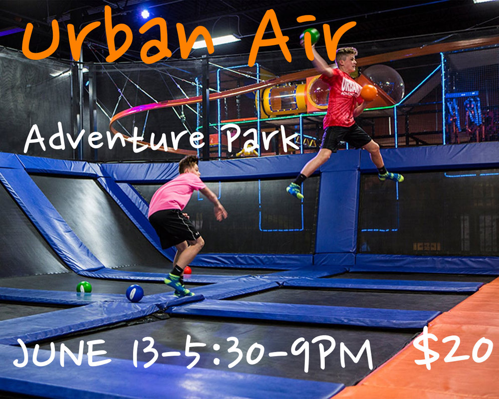 Join us as we take the Ultimate experience. Urban Air is the ultimate indoor adventure park. People may know us for our trampolines (because they're awesome), but that's just the tip of the Urban Air iceberg. Once you get inside, you'll see what we mean.  Cost: $20