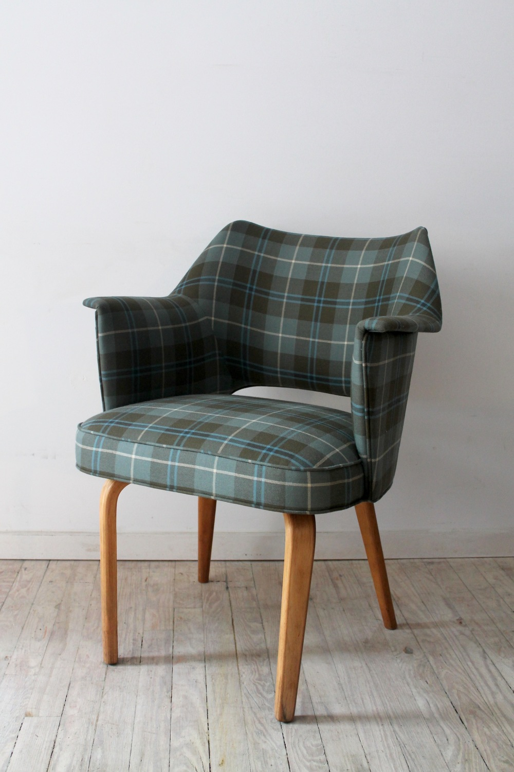 PLAID UPHOLSTERED ARMCHAIR BY THONET