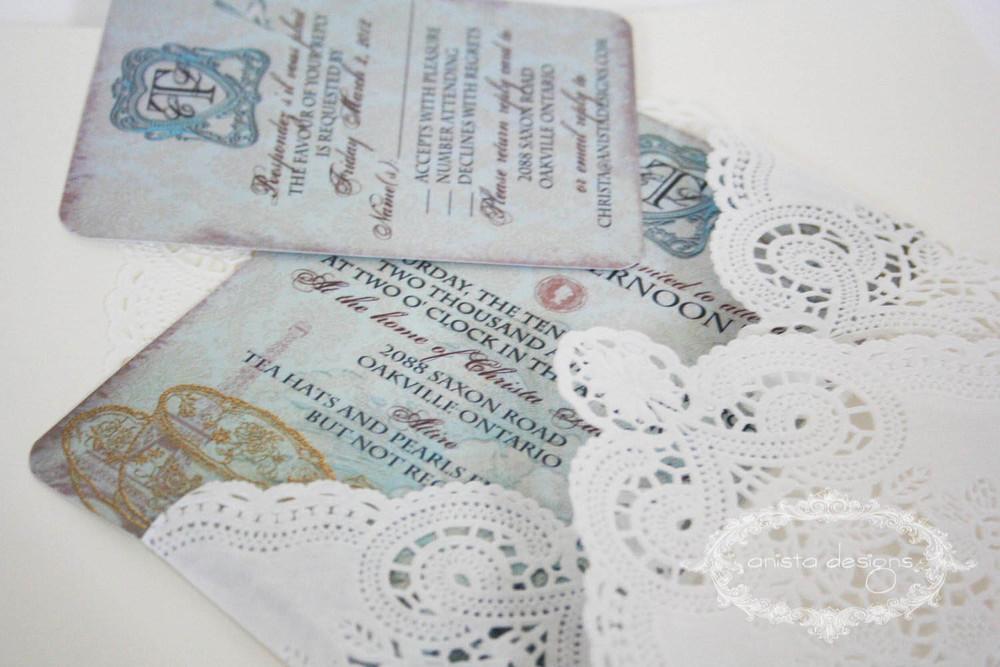 Vintage Tea Party Bridal Shower Invitation RSVP anista designs