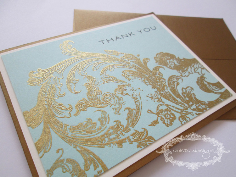 Gold flourish Thank You cards