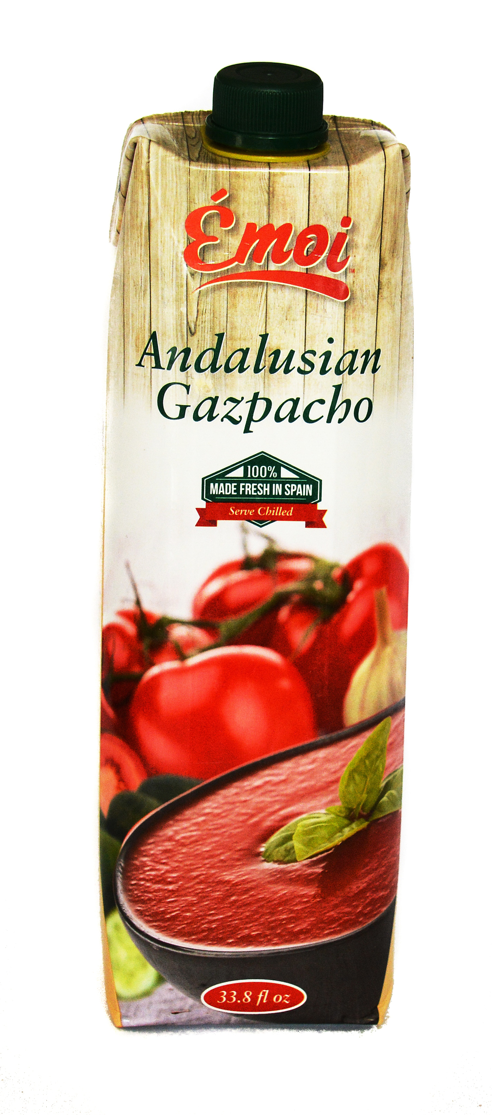 Fresh Tomatoes, water, green peppers, extra virgin olive oil, cucumber, bread (wheat flour, water, salt, yeast), sherry vinegar, garlic, and salt.  Shelf Stable 12 months from production date  Made from conventional ingredients not genetically modified.  10 per case  33.8 oz  UPC 7.99418.05559.6