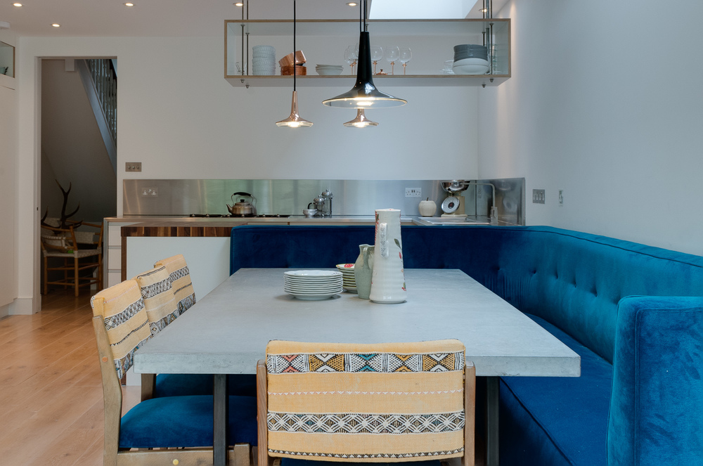 Copy of London Bespoke design kitchen - concrete topped dining table