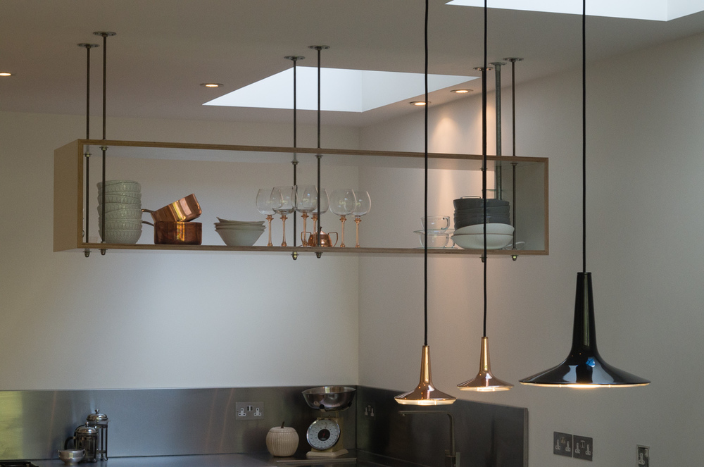 London bespoke design kitchen - custom made suspended shelving