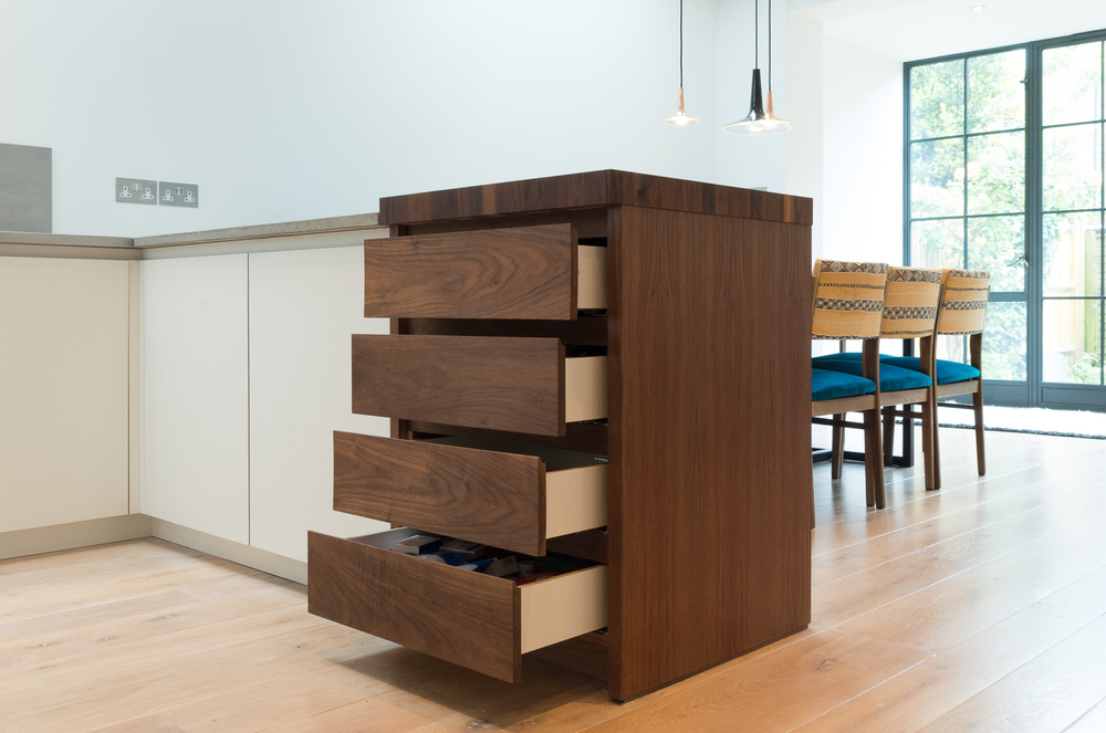 London Custom design kitchen - american black walnut drawer unit