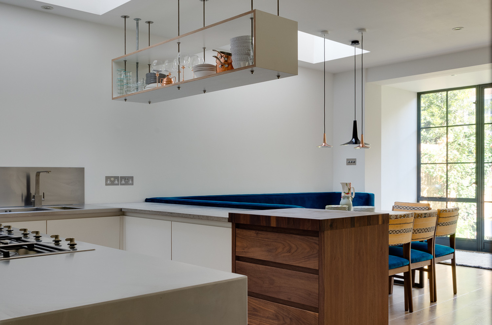 London bespoke kitchen - view through to crittall windows