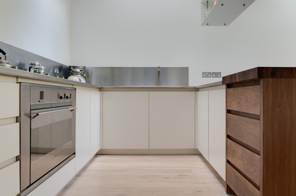 Clapham London Custom kitchen stainless steel and walnut