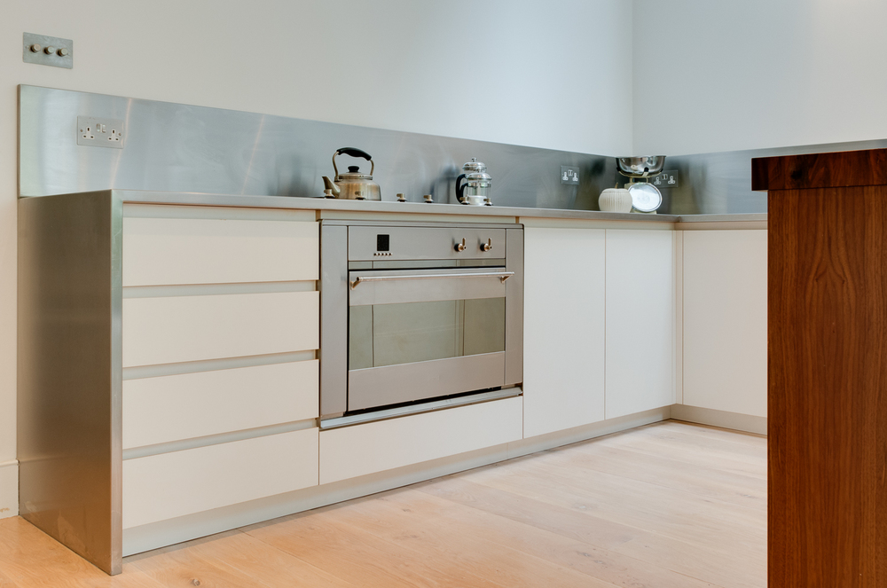 Clapham London Custom Kitchen white melamine faced birch plywood