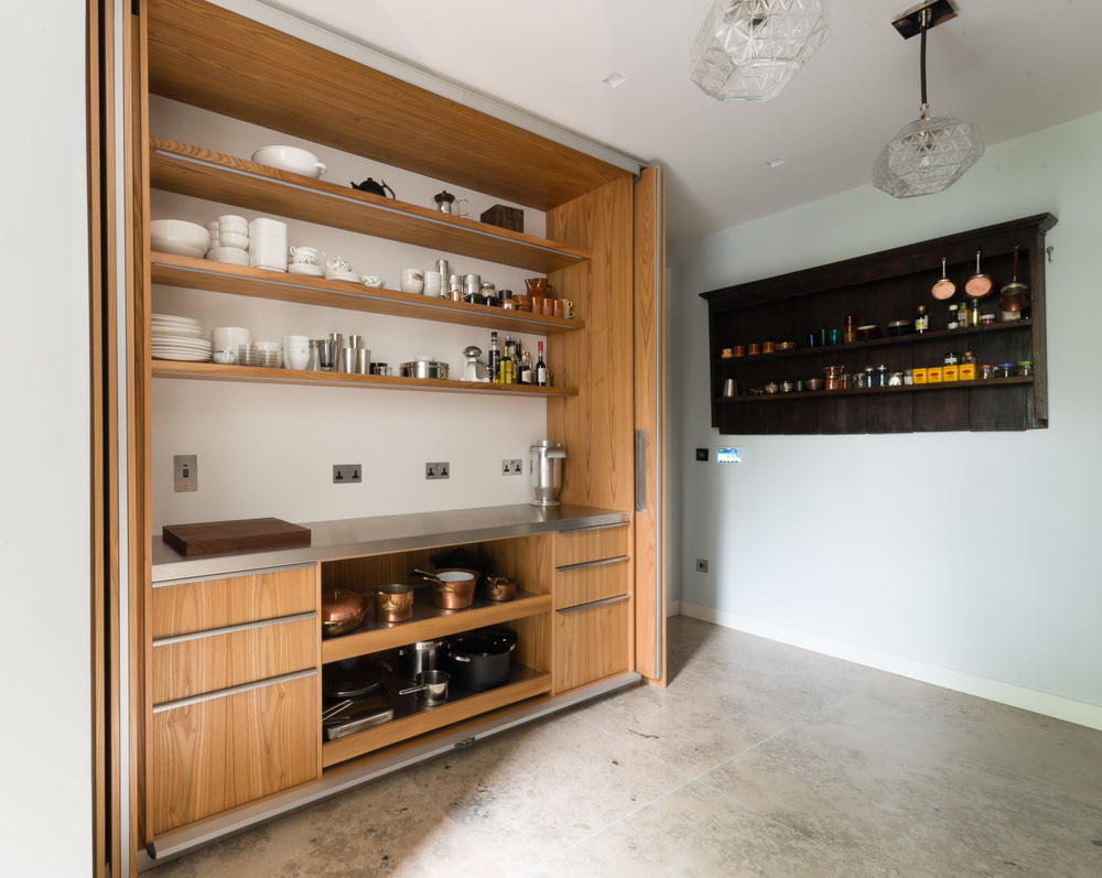 Powell Picano London - Clifton gardens bespoke kitchen pantry with HiMacs and LED lighting