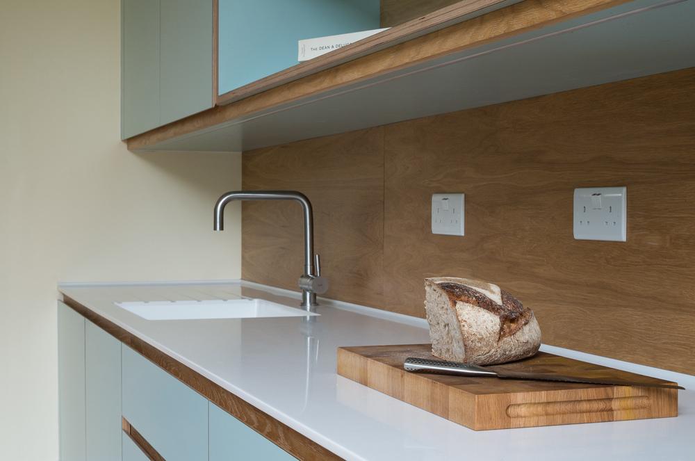 Copy of Crouch End Kitchen worktop with custom chopping board and sink