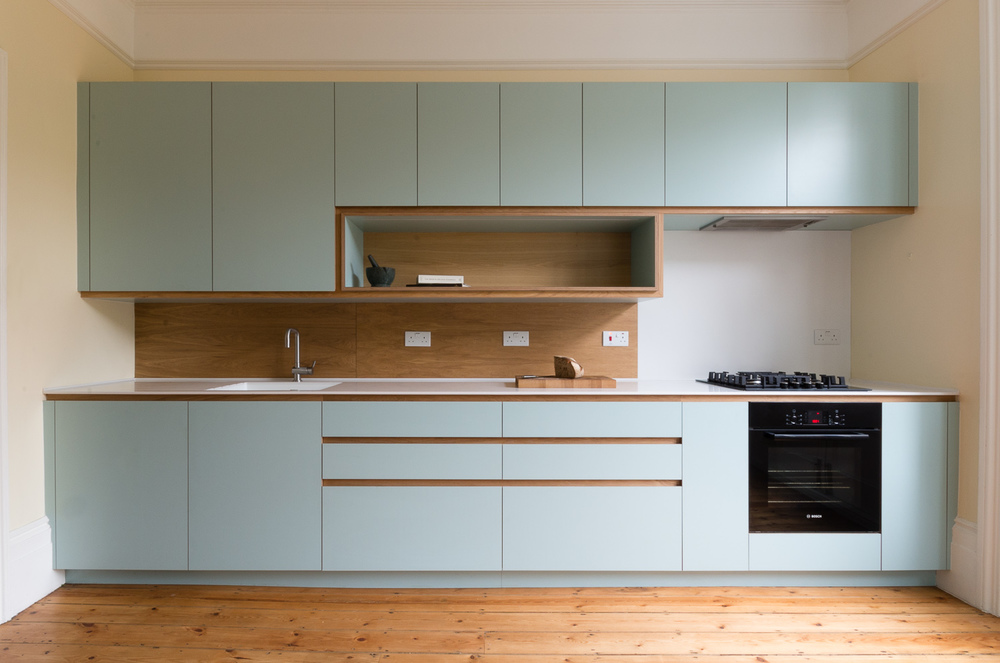 Bespoke kitchen and cabinets in custom laminated birch plywood and solid oak in Crouch End.