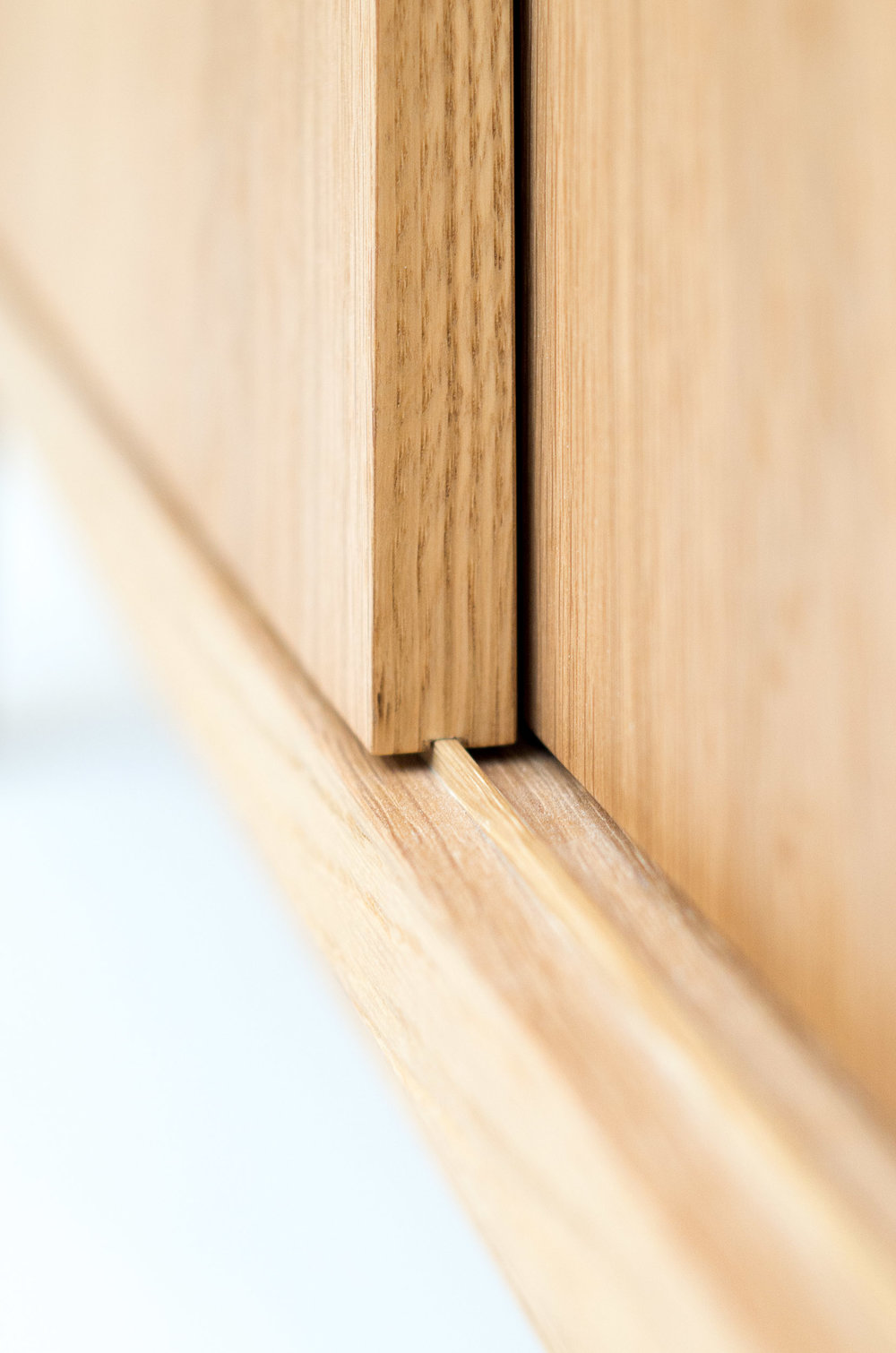 Custom freestanding furniture - Swedish sideboard solid oak runner detail