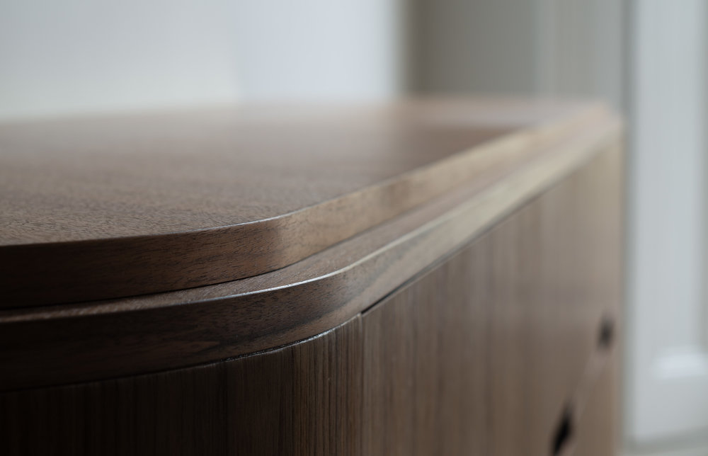 Bespoke freestanding furniture - sideboard has custom veneered chevron design top