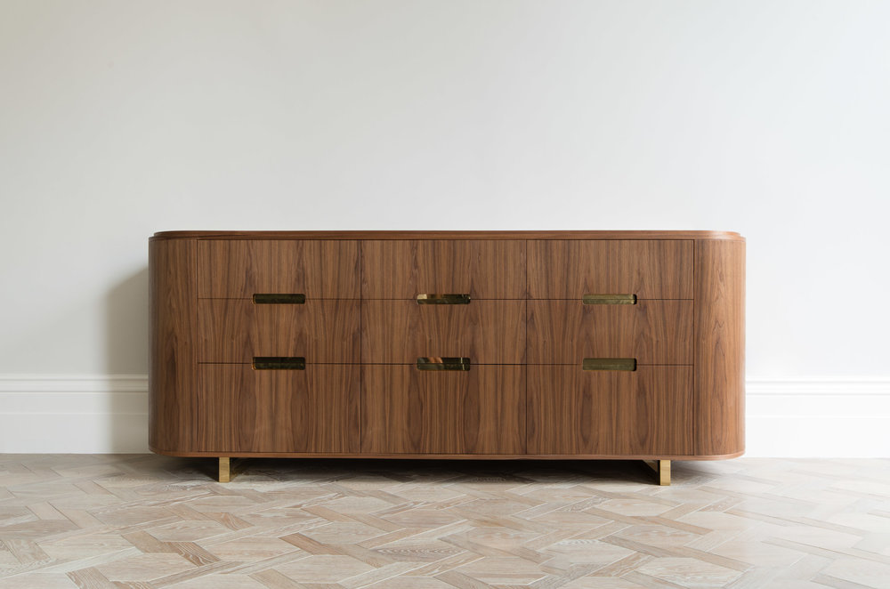 Custom Freestanding Furniture - Ballroom sideboard in american black walnut with polished brass detailing