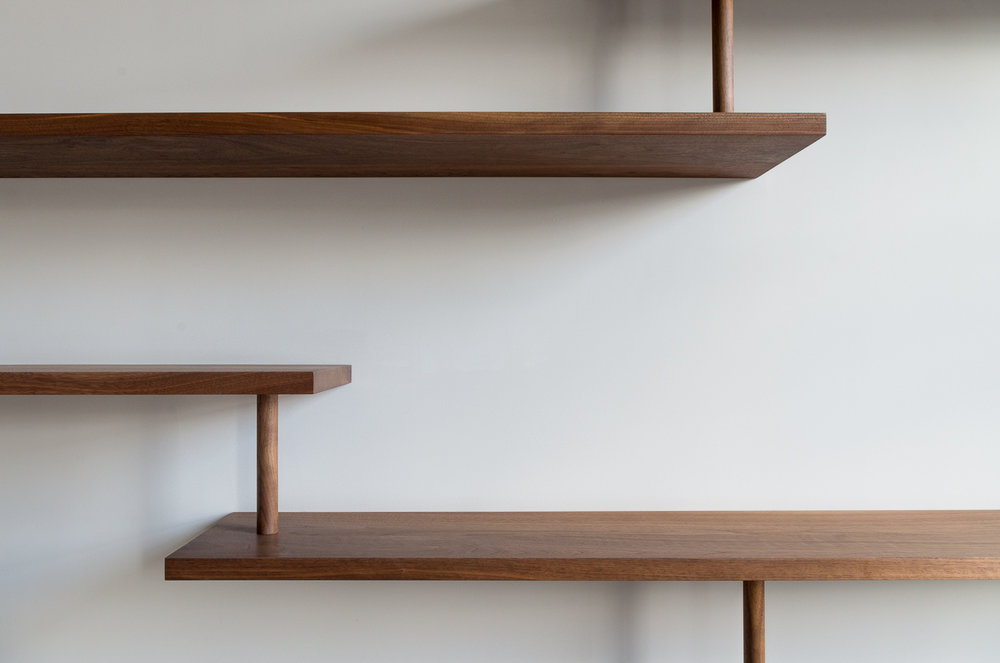 Copy of clifton gardens custom shelving walnut dowel