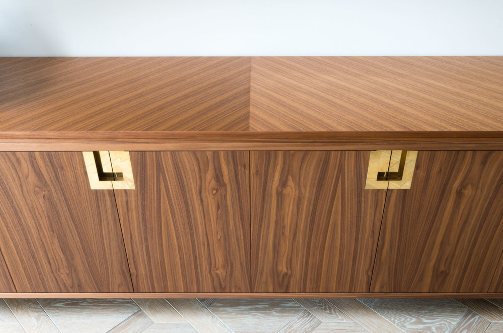 Copy of Bespoke freestanding furniture - Ballroom Media unit custom veneered chevron top
