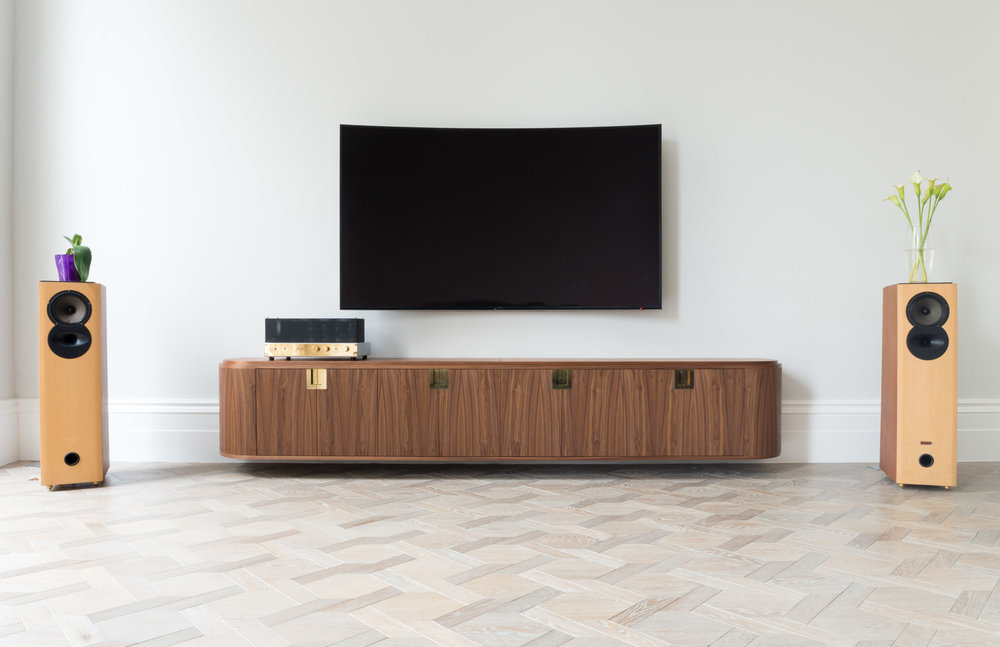 Copy of Custom freestanding furniture - Ballroom Media unit walnut with brass detailing
