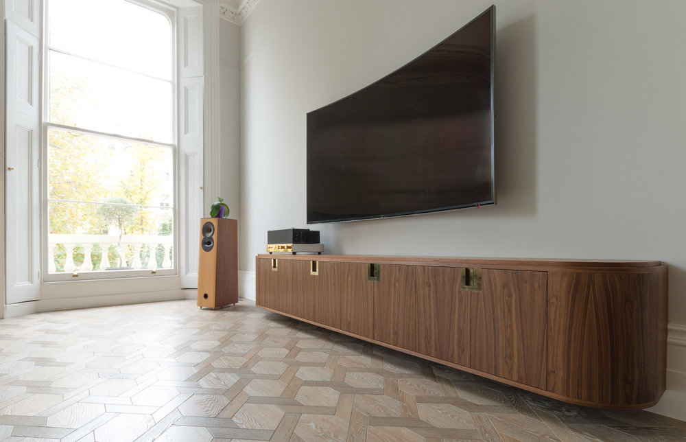 Copy of Bespoke freestanding furniture - Ballroom Media unit custom veneered panels