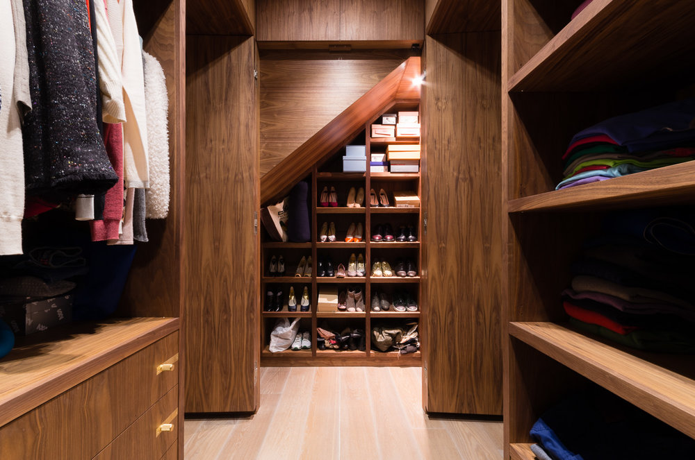 Bespoke walk in wardrobe - Warwick avenue dressing room shoe cabinet