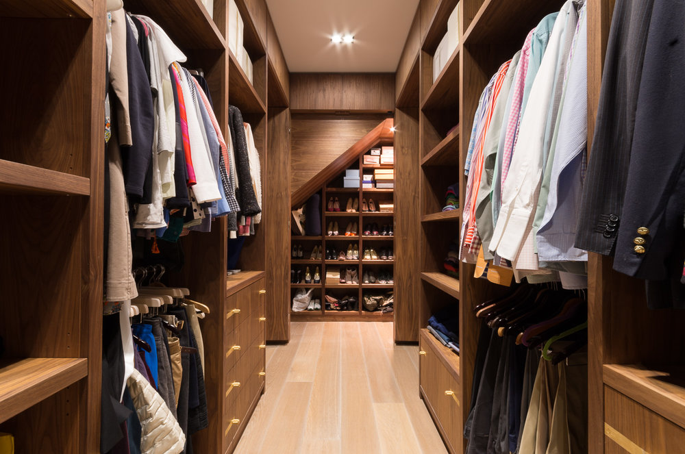 Bespoke walk in wardrobe - Warwick avenue dressing room under stairs shoe storage
